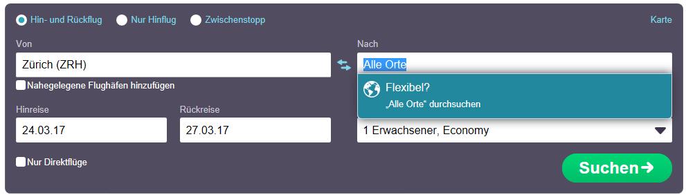 Flexible Alle Orte-Suche